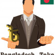 Постер, плакат: Bangladesh national currency Bangladeshi taka symbol representin