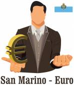 San Marino national currency symbol euro representing money and  — Stock Vector