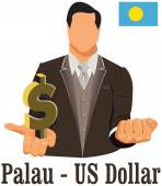 Palau national currency symbol US dollar representing money and  — Stock Vector