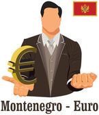 Montenegro national currency symbol euro representing money and — Stock Vector