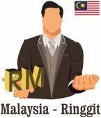 Malaysia nationale währung ringgit symbol für geld und — Stockvektor