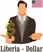 Liberia national currency Liberian dollar symbol representing mo — Stock Vector