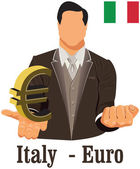 Italy national currency euro symbol representing money and Flag. — Stock Vector