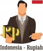 Indonesia national currency Indonesian rupiah symbol representin — Stock Vector