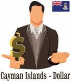 Islas caimán símbolo de dólar de moneda nacional que representa la mone — Vector de stock