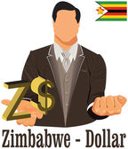 Zimbabwe national currency symbol  dollar representing money and — Stock Vector