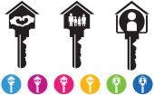 Vector illustration of House and key icons and buttons set — Stock Vector