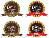 Vector promo label for best of year award for cafe — Vettoriale Stock