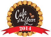 Vector promo label for best of year award for cafe or coffee shop 2014. — Vettoriale Stock