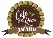 Vector promo label for best of year award for cafe or coffee shop — Vettoriale Stock