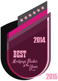 Vector promo label of best mortgage broker agent service award of the year. — Vettoriale Stock