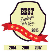 Vector promo label of best employee service award of the year. — Vettoriale Stock