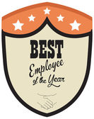 Vector promo label of best employee service award of the year. — Stockvector