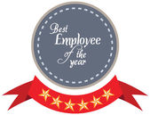 Vector promo label of best employee service award of the year. — Stockvektor