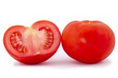 Fresh cherry tomato and sliced tomato isolated on white backgrou — 图库照片