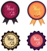 Vector promo label of best motel service award of the year. — Stockvector