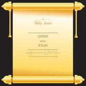 传统婚姻或婚礼卡邀请了在金色的滚动 — 图库矢量图片