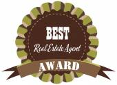 Vector promo label of best real estate agent award of the year. — Wektor stockowy