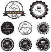 Vector promo label van beste onroerende goederenagent toekenning van het jaar. — Stockvector