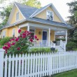 Yellow House with Pink Rose Bush in Front — Stockfoto #58537817