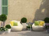 Cozy terrace in the garden — Stock Photo