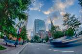 Morning city skyline and streets in charlotte nc — Stock Photo