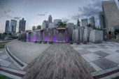 August 29, 2014, Charlotte, NC - view of Charlotte skyline at ni — Stock Photo