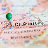 Charlotte qc city pin on the map — Stock Photo