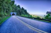 Tunnel through mountains on blue ridge parkway in the morning — Stock Photo