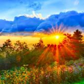 Blue Ridge Parkway late summer Appalachian Mountains Sunset West — Stockfoto
