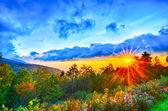 Blue Ridge Parkway late summer Appalachian Mountains Sunset West — Stock Photo