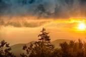 Blue Ridge Parkway Autumn Sunset over Appalachian Mountains  — Stock Photo