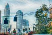 Charlotte north carolina skyline during autumn season at sunset — Stock Photo