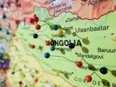 Many pins over mongolia map — Stock Photo