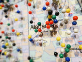Alabama state city pins on a map — Stock Photo