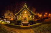 Tiny chapel with lighting at night — Stock Photo