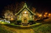 Tiny chapel with lighting at night — Foto de Stock