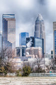 Snow and ice covered city and streets of charlotte nc usa — Стоковое фото