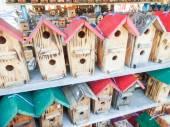 Array of handmade birdhouses for sale — Stock Photo