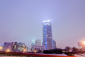 Foggy weather over charlotte north carolina skyline — Stock Photo