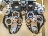 Phoropter -diopter - eye site test device — Stock Photo