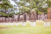 The Oklahoma Bombing Monument with empty chair sculptures that m — Stock Photo