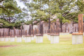 The Oklahoma Bombing Monument with empty chair sculptures that m — Stock Photo #70838889