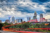 Downtown of Charlotte  North Carolina skyline with dramatic sky — Stock Photo
