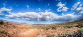 Panorama van een vallei in utah woestijn met blauwe hemel — Stockfoto