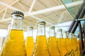 Arrangement of beverage bottles on display — Stock Photo