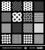 Abstract, modern geometric backgrounds set, simple style seamless patterns, ornamental monochrome vector wallpapers, fashion fabrics and wrapping papers with circle graphic elements for design — Stock Vector