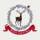 Christmas and New Year festive background, xmas greeting card with deer and wreath — Vector de stock