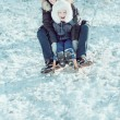 Young beautiful mother and her little son on the sledge — Stock Photo #61493125