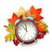 Autumn Vector Fall Leaves and Alarm Clock — Stock Vector